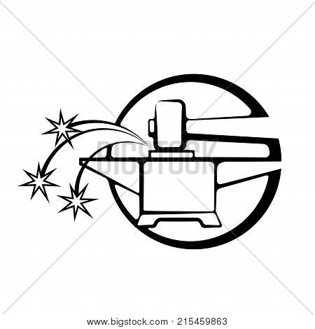 illustration consisting of an image of an anvil and a hammer in the form of a symbol or logo