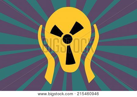 Caution radiation sign in the form of screaming terror head. Comic caricature vector pop art retro illustration drawing