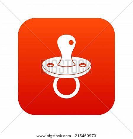 Baby pacifier icon digital red for any design isolated on white vector illustration