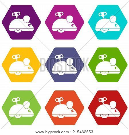 Clockwork mouse icon set many color hexahedron isolated on white vector illustration
