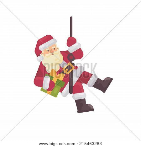Santa Claus Rappelling With A Present In Hand. Santa Climbing Down The Chimney. Christmas Character