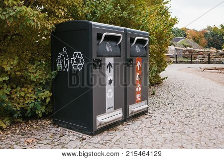 Modern smart bins. Waste collection. Separate collection of garbage and biodegradable waste