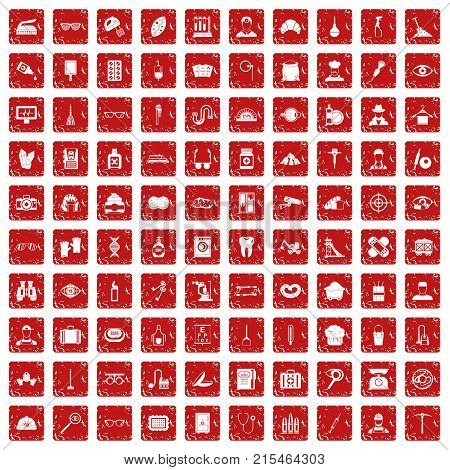 100 profession icons set in grunge style red color isolated on white background vector illustration