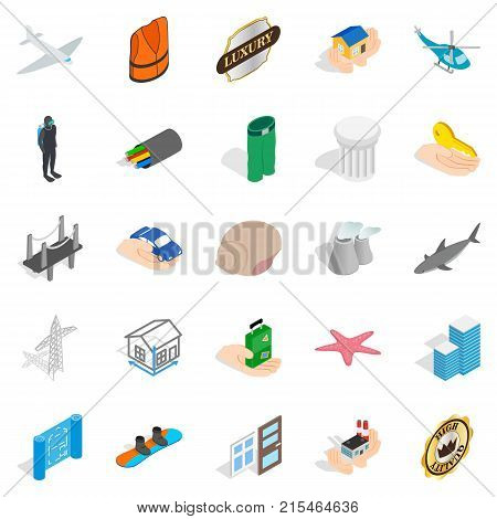 Assurance icons set. Isometric set of 25 assurance vector icons for web isolated on white background