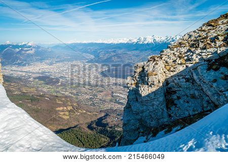 Grenoble viewed from the top of the Vercors mountains