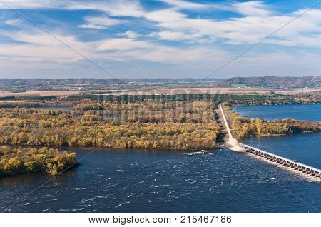 overlooking mississippi river and backwaters at lock and dam 4 from buena vista city park near alma wisconsin