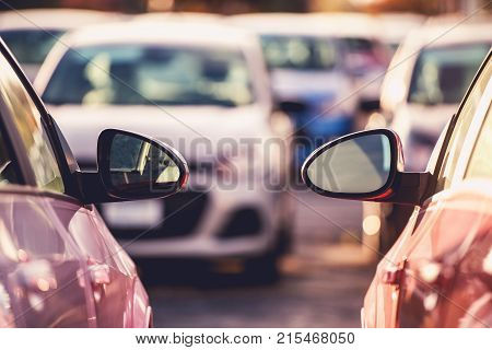 Cars Side by Side Parking Space Theme. Tight City Parking Full of Cars.
