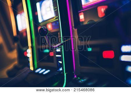 Casino Slot Game Machines Row. Las Vegas Gambling Theme.