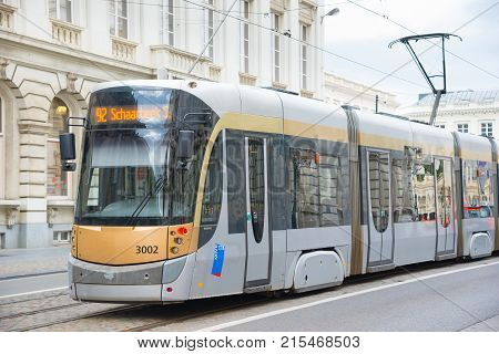 Brussels Belgium - April 22 2017: Tram in the city of Brussels. The Tram system of the city has 19 lines and the first horse powered line started in 1869. Brussels Belgium