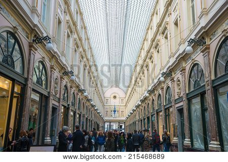 Brussels, Belgium - April 22, 2017: The Galeries Royales Saint-Hubert is a glazed shopping arcade in Brussels that preceded other famous 19th-century shopping arcades