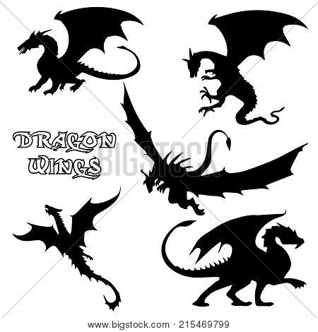 Black stylized vector illustrations of dragons silhouettes logo in the form of a dragon on a white background. Set logo design vector dragons.  Vector illustration EPS.8 EPS.10