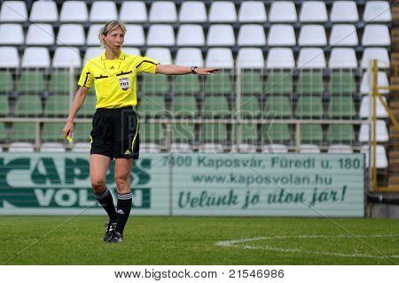 KAPOSVAR, HUNGARY - MAY 14: Gyongyi Gaal (FIFA referee) in action at a Hungarian National Championship soccer game - Kaposvar vs Szolnok on May 14, 2011 in Kaposvar, Hungary.