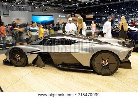 DUBAI UAE - NOVEMBER 18: The Aston Martin Valkyrie hybrid electric sports car is on Dubai Motor Show 2017 on November 18 2017