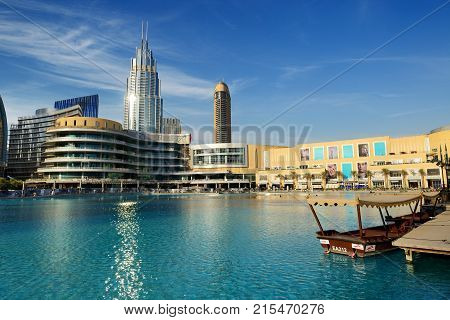DUBAI UAE - NOVEMBER 19: The Dubai Mall is the world's largest shopping mall. It is located in Burj Khalifa complex and has 1200 shops inside on November 19 2017