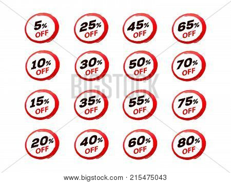 set of sale stickers for web, set of dicount stickers, sale up to  eighty percent, sale set, isolated on white background.