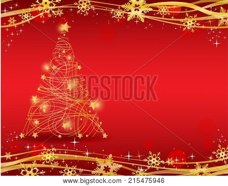 Ornate golden Christmas tree on red background - Possible to create holiday cards and ornaments.