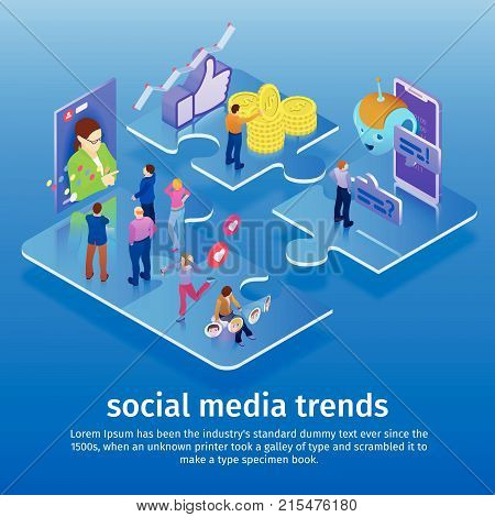 Trends in social media 2018. Chatbot, video broadcast, stories, SMM promotion, online analytics. People in social network. Template for presentation. 3d puzzle pieces. Flat 3d isometric banner.