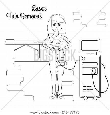 Vector flat illustration of the process of laser hair removal. Equipment and accessories for electro, photo and laser hair removal