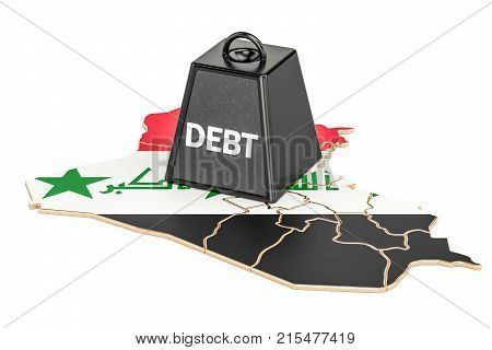 Iraqi national debt or budget deficit financial crisis concept 3D rendering