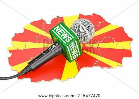 Macedonian News concept microphone news on the map. 3D rendering