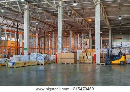 St. Petersburg Russia - July 27 2017: Custom Bonded Warehouse storage and logistics temporary storage warehouse space floor storage zone goods under customs control.