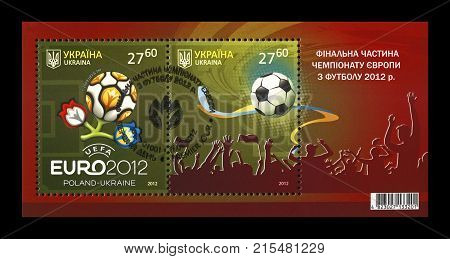 UKRAINE, KIEV - CIRCA 2012: canceled stamp printed in Ukraine shows EURO 2012 Final Championship in Kiev, Ukraine, circa 2012.