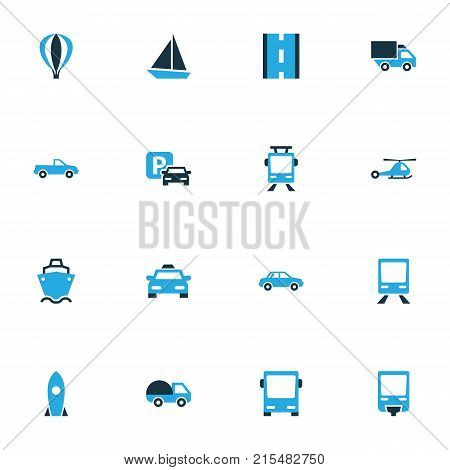 Transport colorful icons set with lorry, caravan, chopper and other trolley  elements. Isolated vector illustration transport icons. poster