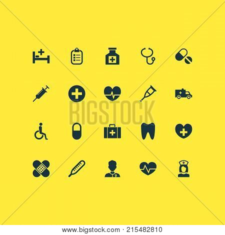 Drug icons set with peck, plus, chest and other healer elements. Isolated vector illustration drug icons.