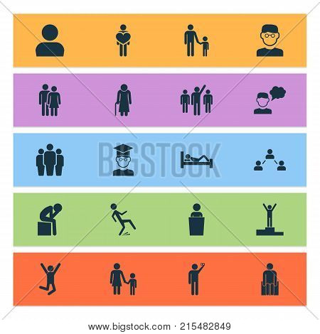 People icons set with user, beloveds, pupil and other user elements. Isolated vector illustration people icons.