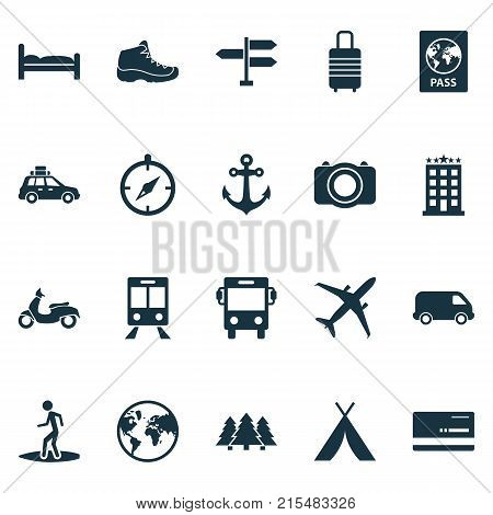 Traveling icons set with boat stability, sneaker, land pickup elements. Isolated vector illustration traveling icons.