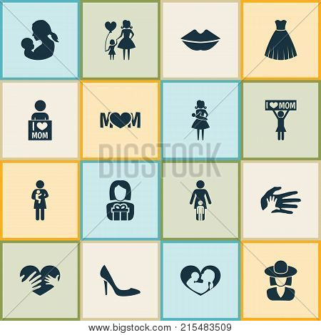 Mothers day icon design concept. Set of 16 such elements as hands, relations, evening gown. Beautiful symbols for lady, shoes and hat.