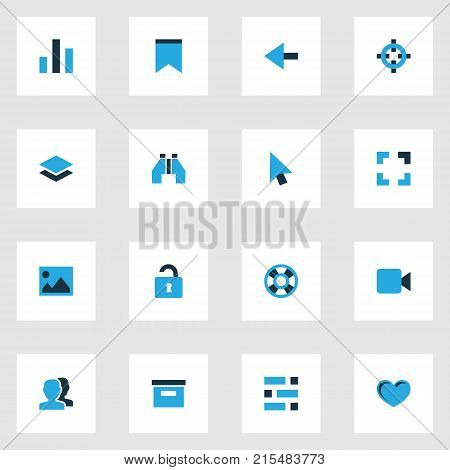 User colorful icons set with picture, camera, people and other pennant elements. Isolated vector illustration user icons.