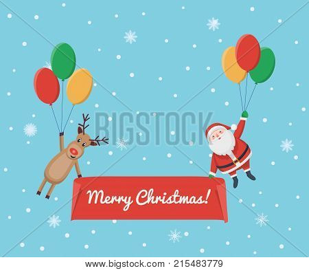 Santa Claus and deer descend on balloons to the snow-covered glade. New Year. Design for a Christmas card, banner, invitation. Vector illustration.