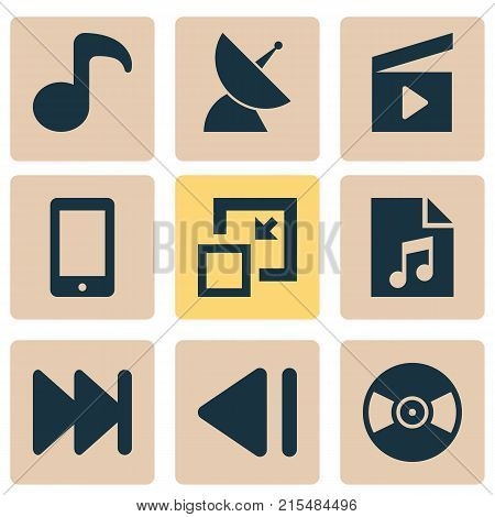 Multimedia icons set with quaver, playlist, turntable and other cinema clap elements. Isolated vector illustration multimedia icons.