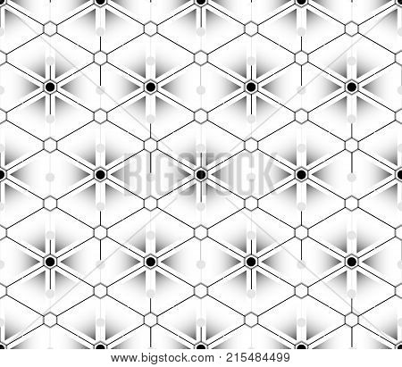 Gradient multilayer seamless pattern looks like a flower from the outlines of the triangles and diamond shapes with black and white hexagons that are inscribed with circles at the intersections of the lines