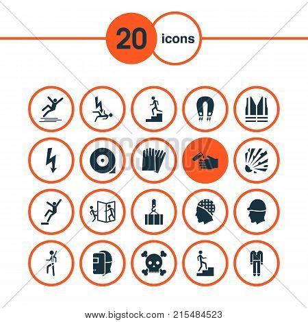 Safety icons set with fall hazard, welding mask, repair and other repair elements. Isolated vector illustration safety icons.