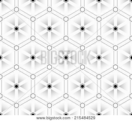 Retro-futuristic seamless pattern of gradient triangles and diamond shapes with black and white hexagons that are inscribed with circles at the intersections of the lines
