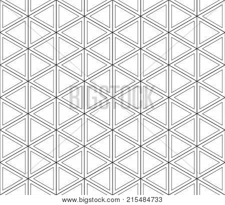 Retro-futuristic, layered seamless pattern of white triangles in the double black contours crossing