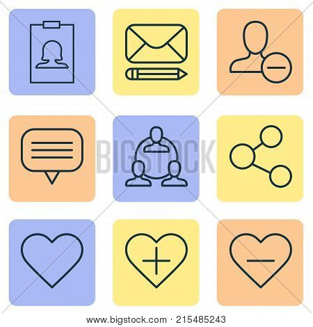Communication icons set with delete, publication, remove and other badge elements. Isolated vector illustration communication icons.