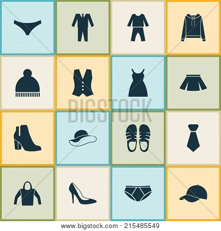 Dress icons set with formal, sleepwear, dress and other female winter shoes elements. Isolated vector illustration dress icons.