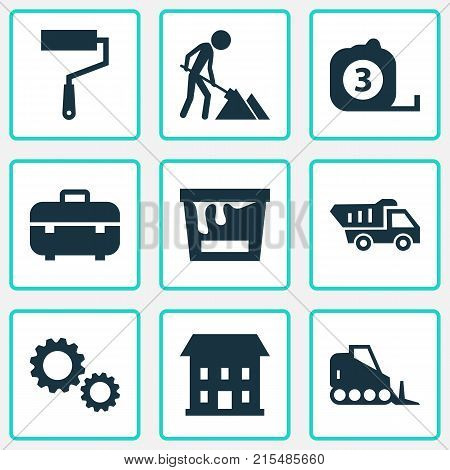Construction icons set with truck, paint bucket, equipment and other truck elements. Isolated vector illustration construction icons.