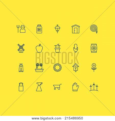 Gardening icons set with jug, jonagold, protection mitt and other farmhouse elements. Isolated vector illustration gardening icons.