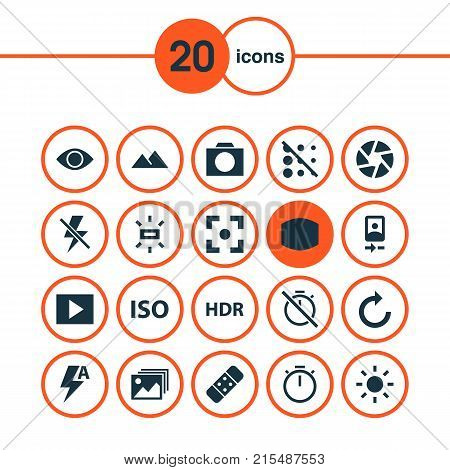 Image icons set with focus, chronometer, plaster and other timer elements. Isolated vector illustration image icons.