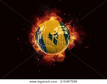 Football In Flames With Flag Of Saint Vincent And The Grenadines