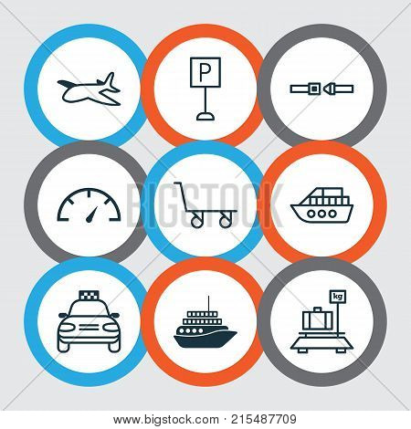 Vehicle icons set with roadsign, speed checker, safety belt and other safety belt elements. Isolated vector illustration vehicle icons.