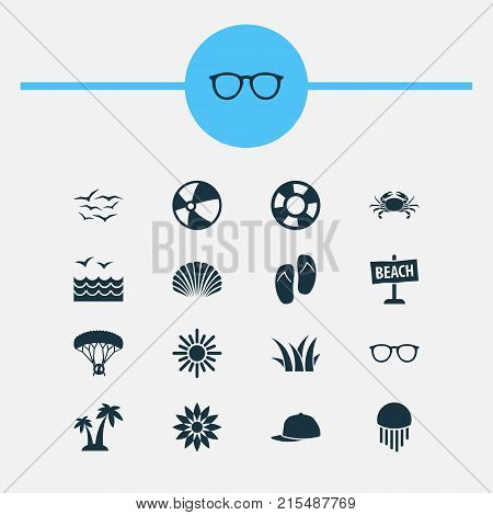 Season icons set with lifesaver, sunny, seagull and other spectacles elements. Isolated vector illustration season icons.