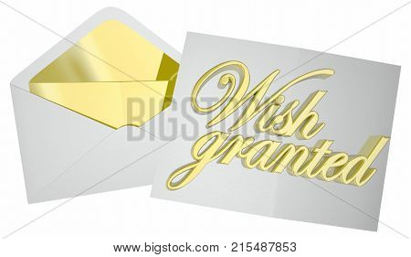 Wish Granted Dream Fulfilled Envelope Letter 3d Illustration