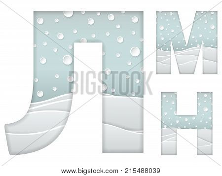 set of color vector illustration of paper art cut cyrillic letters L M N with winter landscape with multi layers and shadows effect isolated on white background