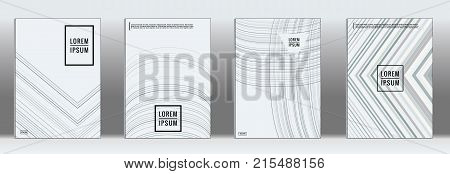 Minimal cover. Vector grey geometric abstract line pattern for poster design. Set of minimal covers for business brochures. 2d prints for banner background. Graphic pattern for annual album backdrop.