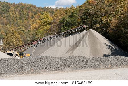 MORGANTOWN, WV - OCTOBER 17 2016: Limestone quarry owned by Greer Lime alongside Deckers Creek.